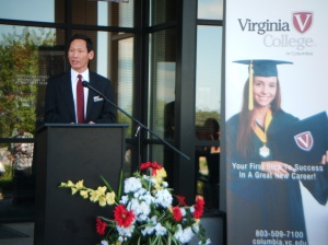 Campus Director Nick Foong greets guests at the Virginia College 3rd Anniversary Celebration Photo by Kasie Whitener