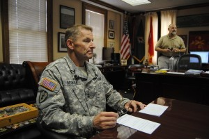 Maj. Gen. Bradley A. Becker, Fort Jackson's commander, discusses the base and its future with reporters Wednesday. (photo by Allen Wallace)